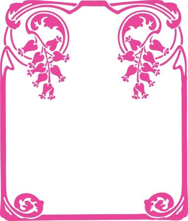 Beautiful decorative floral frame, art nouveau design element Vector