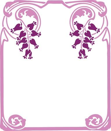 magenta decor: Beautiful decorative floral frame, art nouveau design element