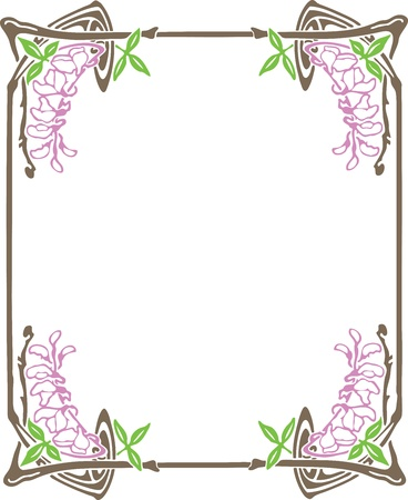 Beautiful decorative floral frame, art nouveau design element Stock Vector - 15859669