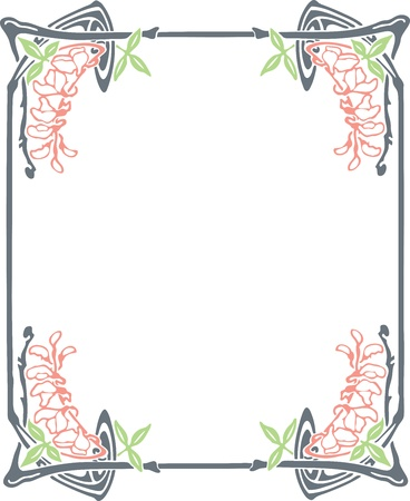 Beautiful decorative floral frame, art nouveau design element Stock Vector - 15859689