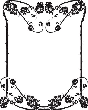 Beautiful decorative floral frame, art nouveau design element Stock Vector - 15859698