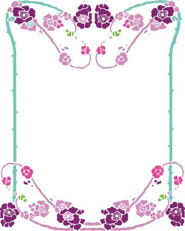 Beautiful decorative floral frame, art nouveau design element Stock Vector - 15859701