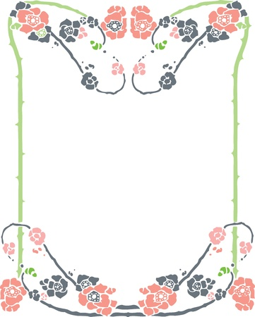 Beautiful decorative floral frame, art nouveau design element Stock Vector - 15859700