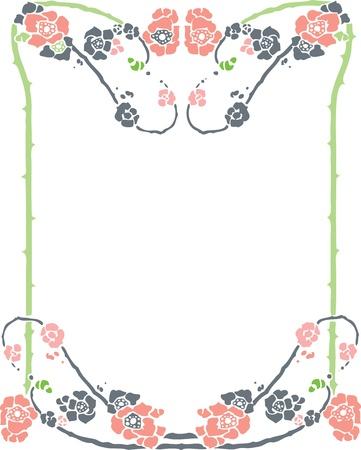 Beautiful decorative floral frame, art nouveau design element Stock Vector - 15859700