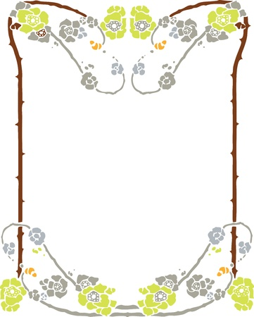 Beautiful decorative floral frame, art nouveau design element Stock Vector - 15859702