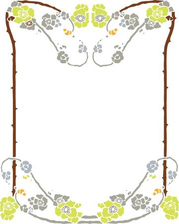 style: Beautiful decorative floral frame, art nouveau design element