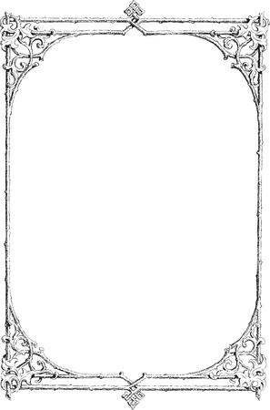 art nouveau: Bella cornice decorativa floreale, elemento di design art nouveau Vettoriali