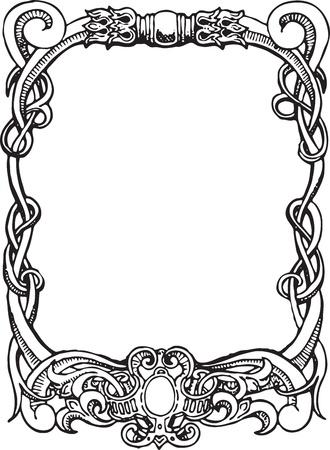 stationary set: Beautiful decorative floral frame, art nouveau design element