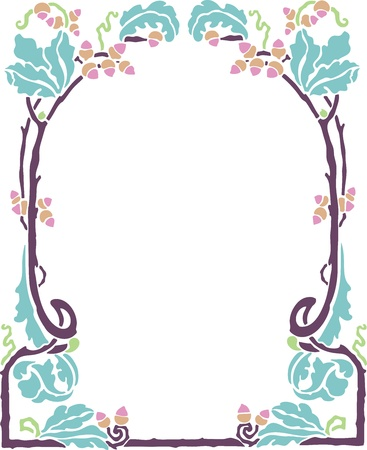 Beautiful decorative floral frame, art nouveau design element Stock Vector - 15859719