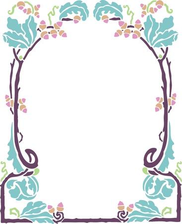 Beautiful decorative floral frame, art nouveau design element Stock Vector - 15859719