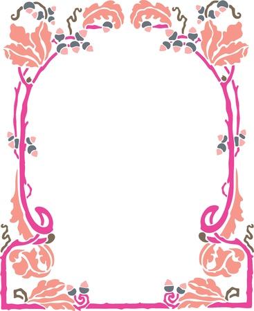 rose: Beautiful decorative floral frame, art nouveau design element