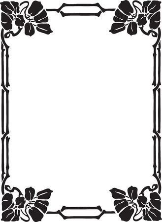 nouveau: Beautiful decorative floral frame, art nouveau design element