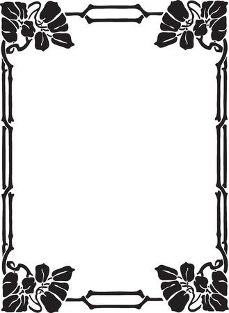 stationary border: Beautiful decorative floral frame, art nouveau design element