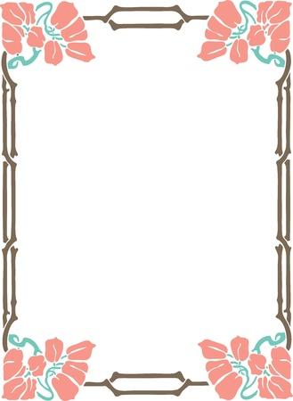 magenta flowers: Beautiful decorative floral frame, art nouveau design element
