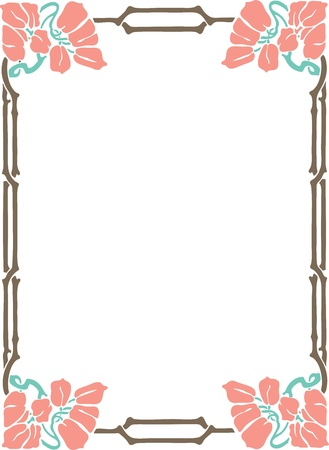 magenta: Beautiful decorative floral frame, art nouveau design element