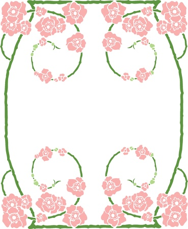 art nouveau design: Beautiful decorative floral frame, art nouveau design element