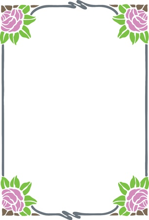 green leaves border: Beautiful decorative floral frame, art nouveau design element