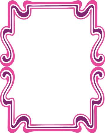 flower border pink: Beautiful decorative floral frame, art nouveau design element