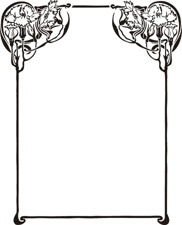 stile liberty: Bella cornice decorativa floreale, elemento di design art nouveau Vettoriali