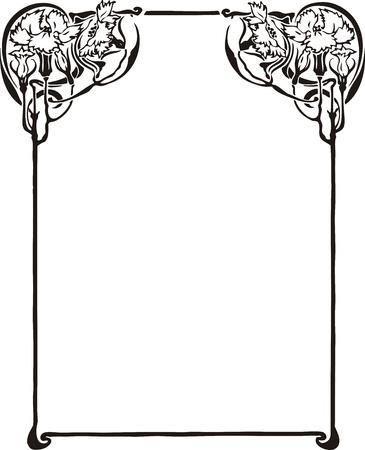 bordure vigne: Beau cadre d�coratif floral, �l�ment Art Nouveau