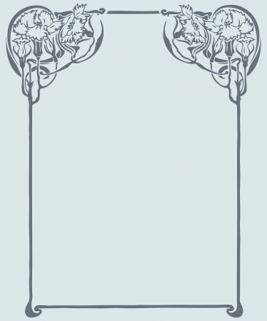 art nouveau border: Beautiful decorative floral frame, art nouveau design element