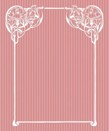 Beautiful decorative floral frame, art nouveau design element Stock Vector - 16104293