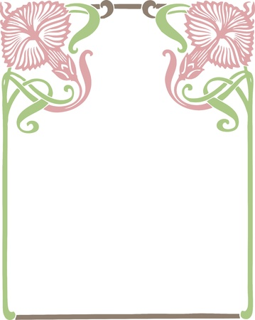 Beautiful decorative floral frame, art nouveau design element Stock Vector - 16104271