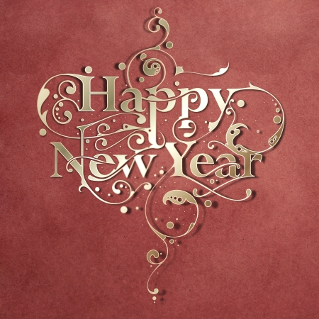 Beautiful hand-made ornamental typography Happy New Year on paper background photo