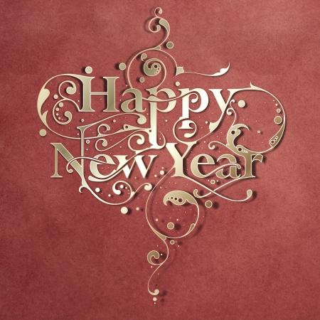 happy holidays: Mooie handgemaakte sier typografie Gelukkig Nieuwjaar op papier achtergrond