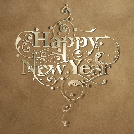 Beautiful hand-made ornamental typography Happy New Year on paper background Stock Photo - 16104315