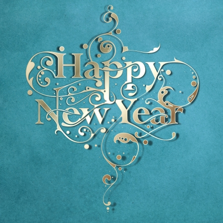 greeting season: Beautiful hand-made ornamental typography Happy New Year on paper background