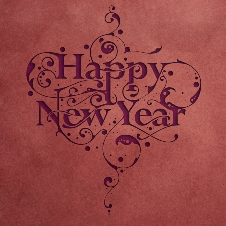 Beautiful hand-made ornamental typography Happy New Year on paper background Stock Photo - 16104314