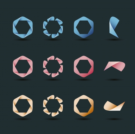 Modern icon collection with hexagon ribbons and variations Vector