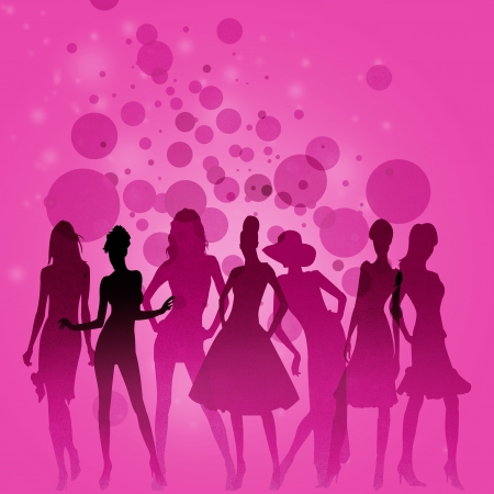 Fashion-themed illustration with beautiful lady silhouettes Stock Illustration - 16229793