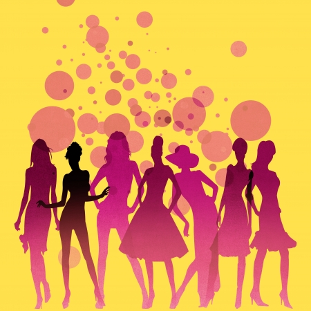 Fashion-themed illustration with beautiful lady silhouettes Stock Illustration - 16229786