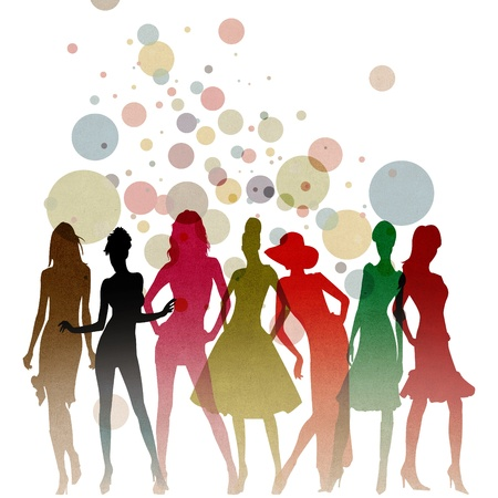 themed: Fashion-themed illustration with beautiful lady silhouettes  Stock Photo