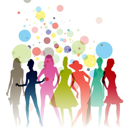 fashion design: Fashion-themed illustration with beautiful lady silhouettes  Stock Photo