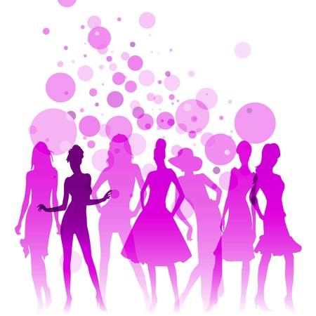party outfit: Fashion-themed illustration with beautiful lady silhouettes  Stock Photo