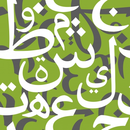alphabet wallpaper: Beautiful vector seamless pattern with cursive Arabic letters