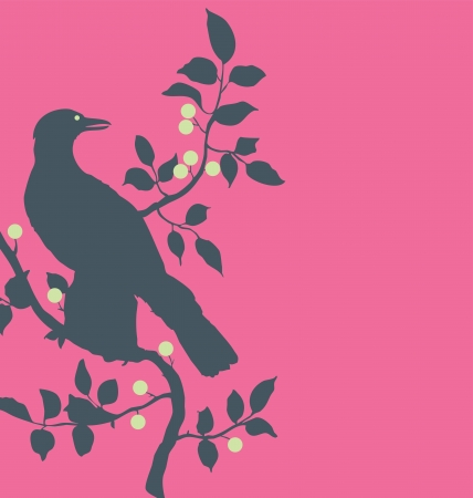 Magenta silhouette of a raven standing on a branch with little fruits Vector