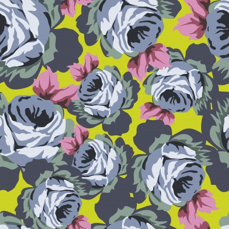 textiles: Seamless vector pattern with beautiful vintage roses on magenta background