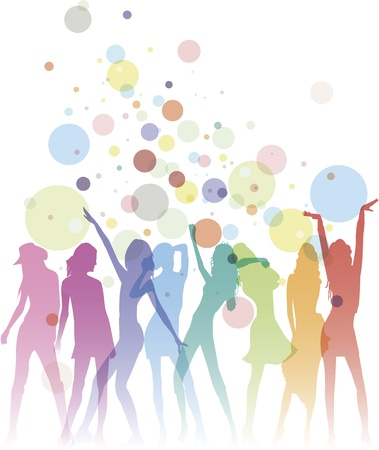 Colorful dancing woman silhouettes with bubbles and copy space Vector
