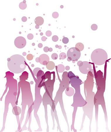 mujer feliz fondo blanco: Baile siluetas mujer con las burbujas y espacio de la copia