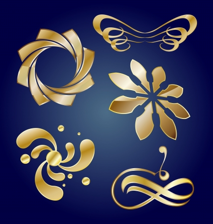 wings logos: Collection of golden ornamental icons or business emblem elements Illustration