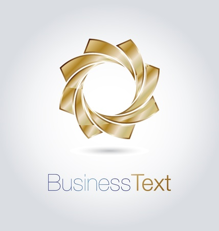 copyspace corporate: Elegant vector emblem design with golden abstract flower shape