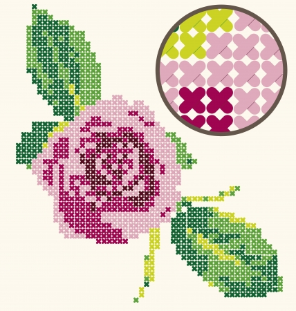 embroider: Digitally created cross stitch with a beautiful pink rose