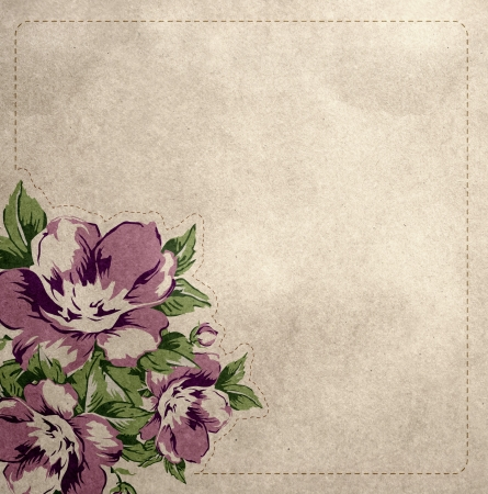 Vintage style background with shabby chintz roses photo