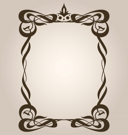 Classic art nouveau style frame with abstract swirls Vector