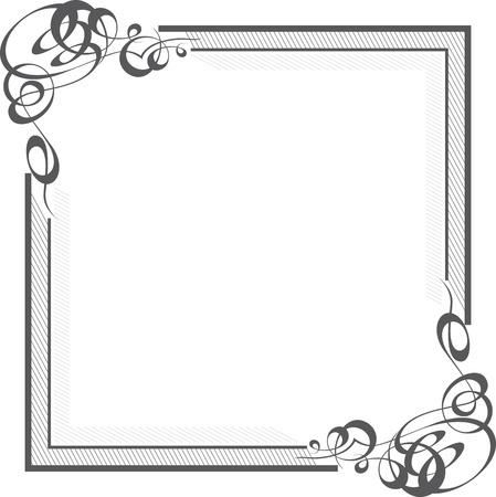 adornment: Bella confine quare con angoli turbinio calligrafici Vettoriali