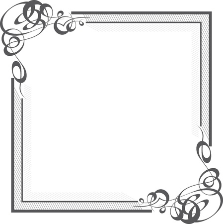 bordure de page: Belle fronti�re quare avec des coins de remous de calligraphie